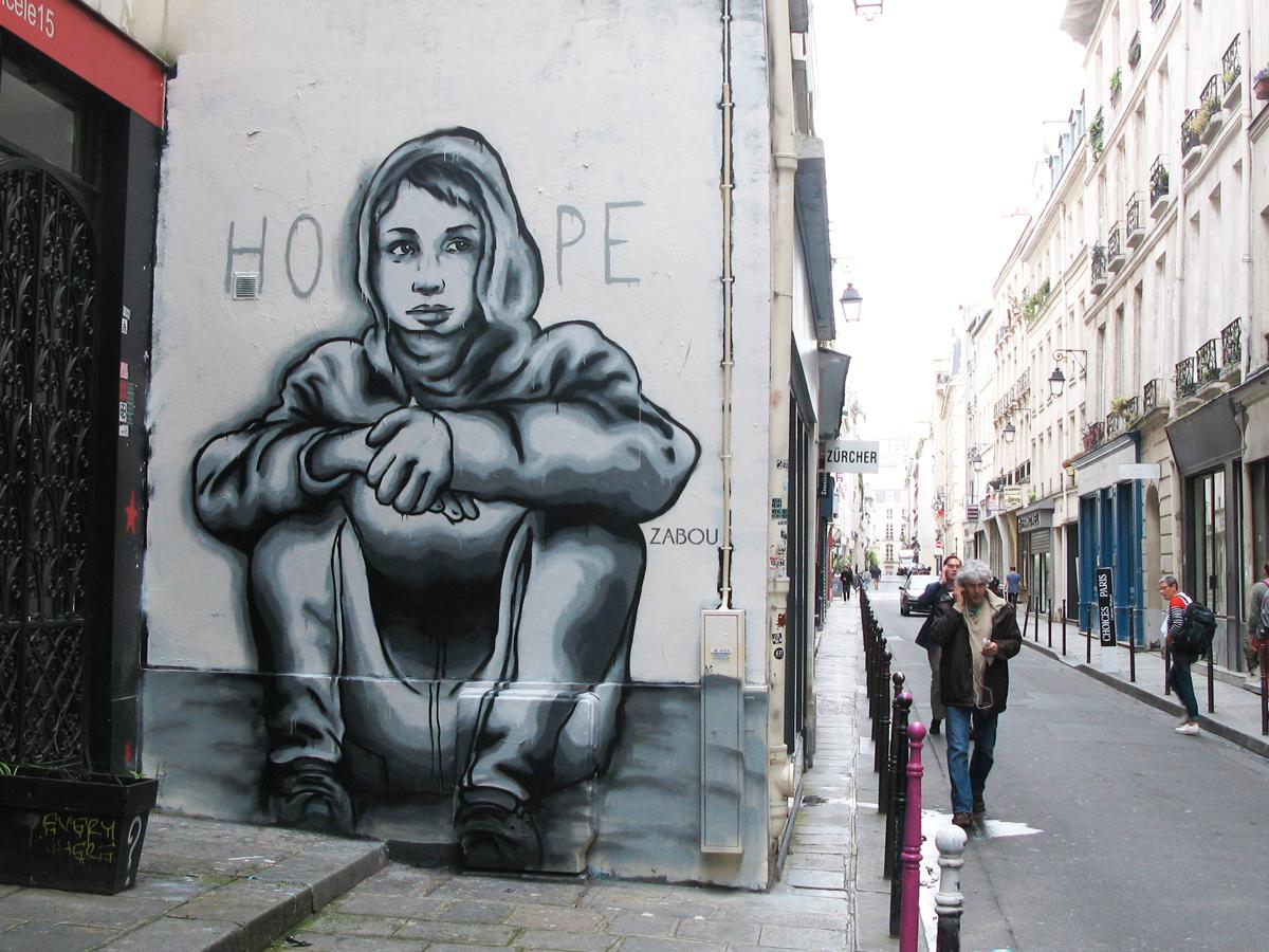 """Title: """"Against The Wall"""" – Zabou – 3x3m – Paris 4, France – 2015"""