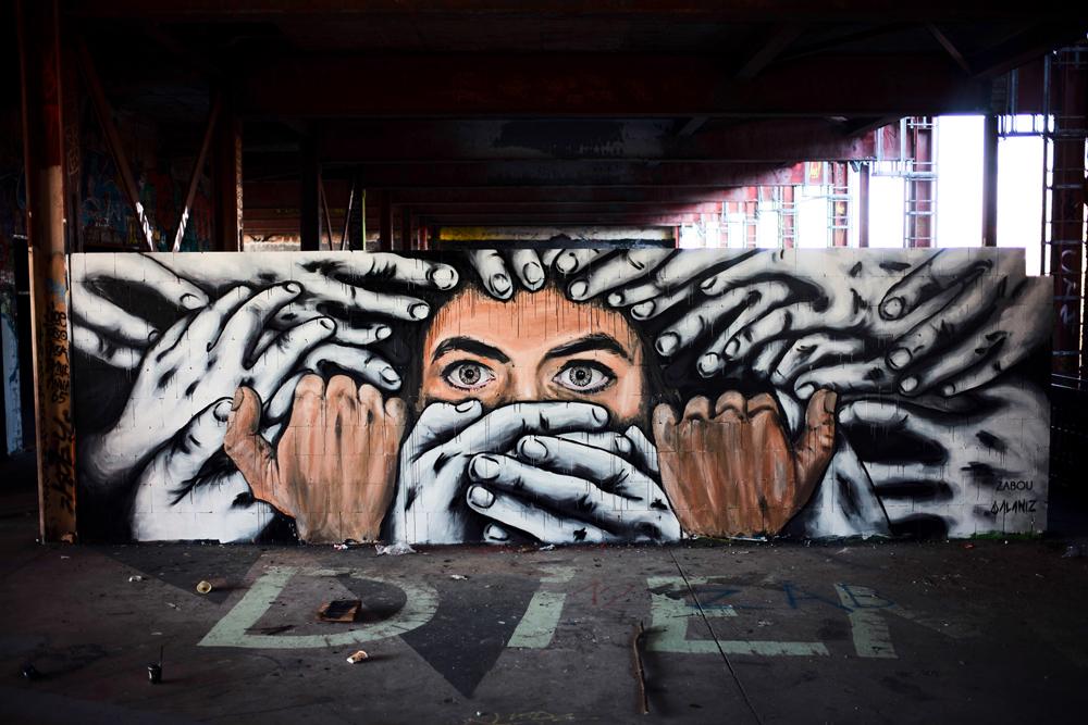 Title: 'Silenced' – Collaboration Zabou & Alaniz - Teufelsberg, Berlin, Germany – 2015