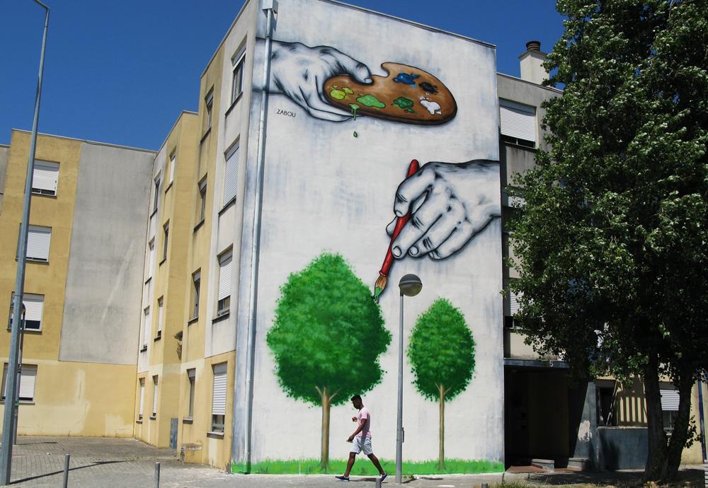 "Title: ""Trompe L'oeil"" – Zabou – 14x7m – Loures, Portugal – 2015"