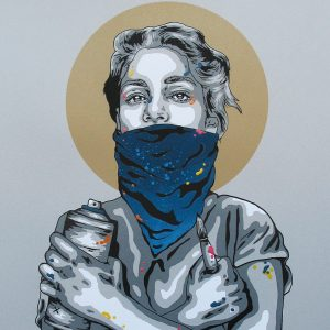 SCREEN PRINT // SÉRIGRAPHIE 'IN ART WE TRUST' HAND-FINISHED BLUE