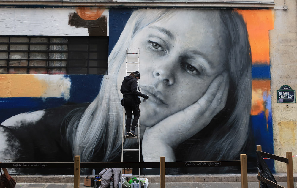Zabou - Street Art Portrait of Yuvali in Le Marais, Paris, France