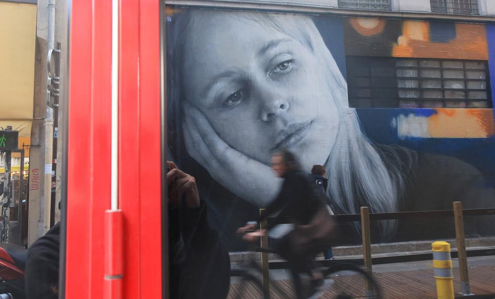 Zabou - Street Art Portrait of Yuvali in Le Marais, Paris, France