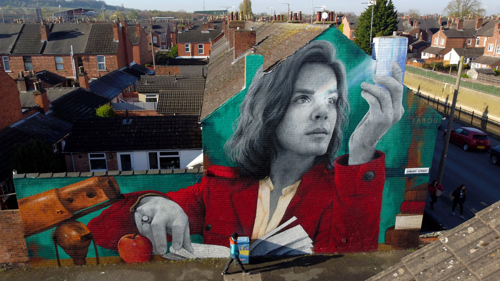 Zabou - Street Art Portrait of Isaac Newton